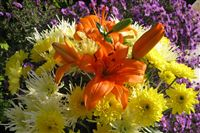Lilium Bouquets with yellow chrysanthemum