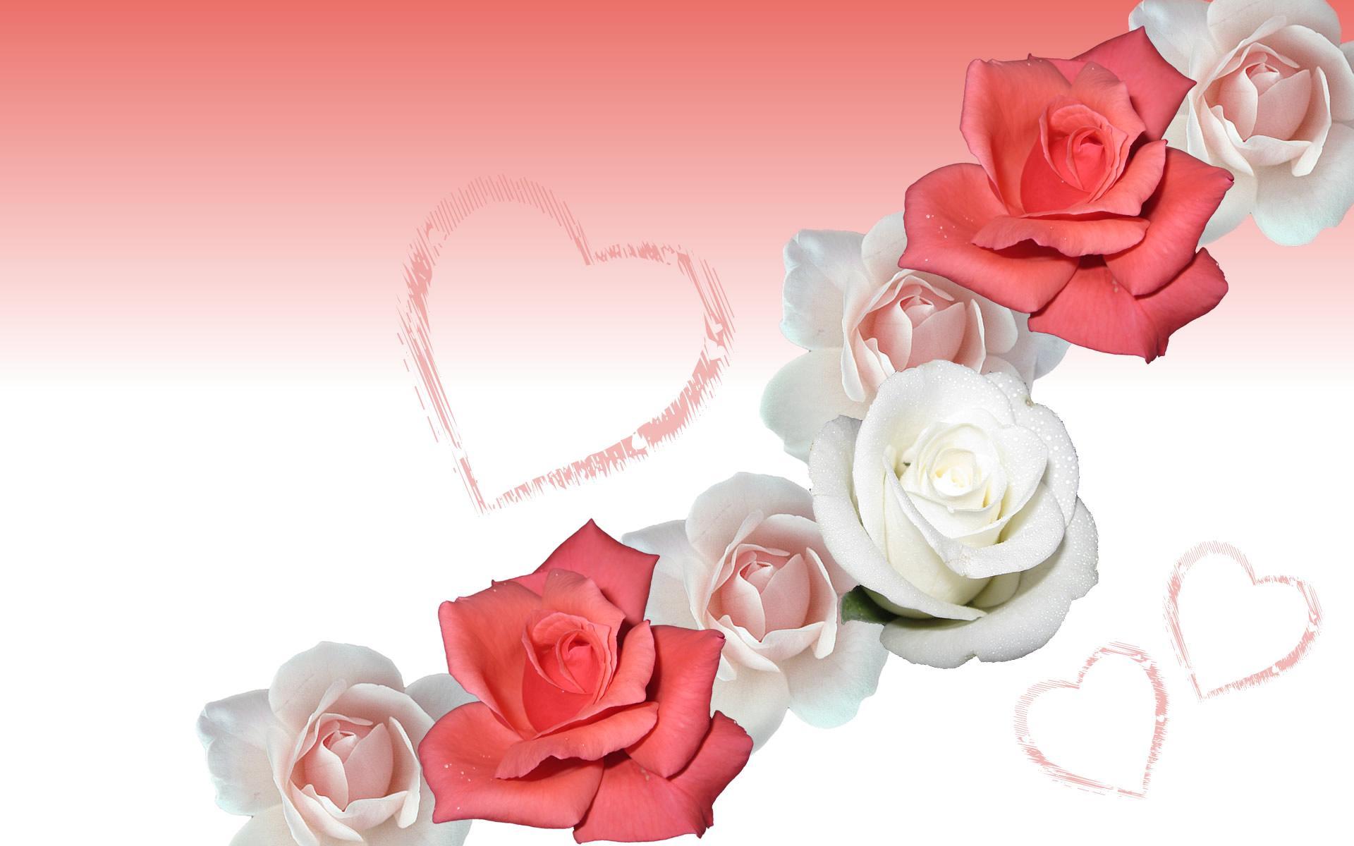 Romantic rose wallpaper. Romantic Flower roses, with hearts for Christmas