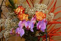 Yellow-red Rose and Orchids bouquet