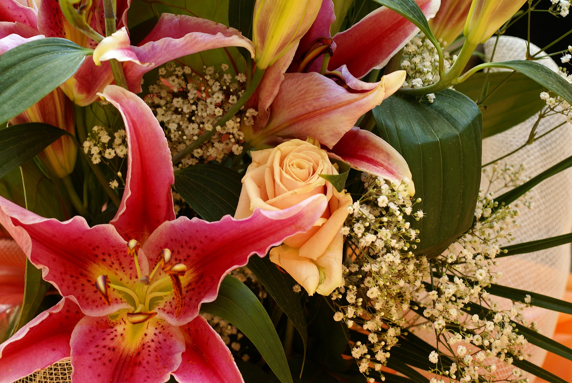 Anthurium, lilium and roses bouquet