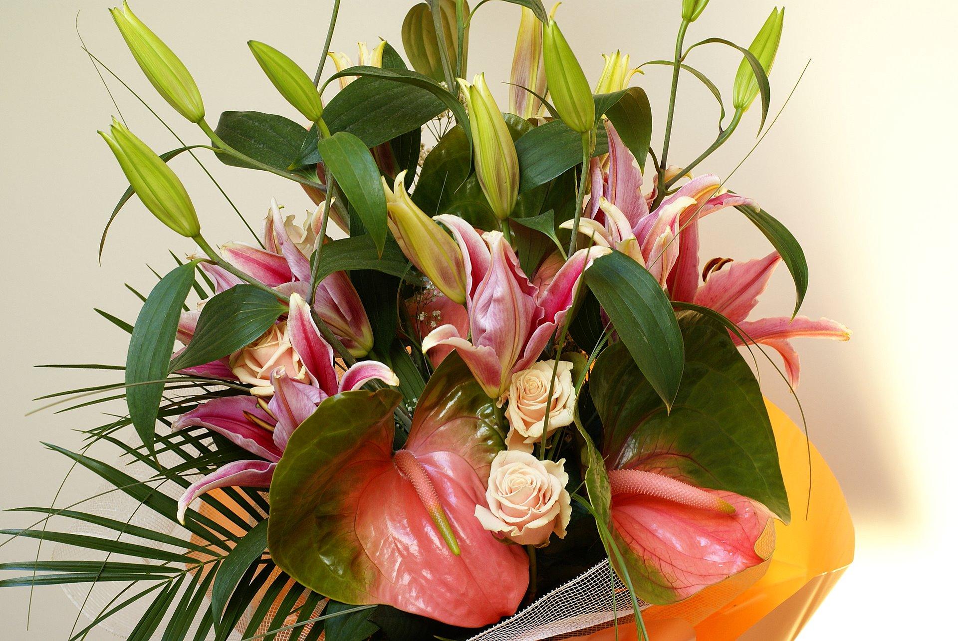 Lilium Peach Rose And Anthurium Bouquet