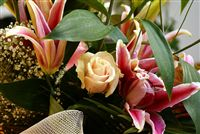 Lilium, peach rose and anthurium bouquet