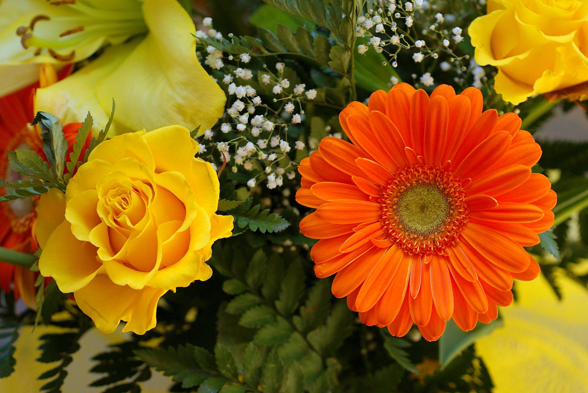 Flower bouquets flower composition photo and wallpapers whether yellow rose and orange gerber dhlflorist Image collections