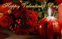 Happy Valentine's Day roses and candle