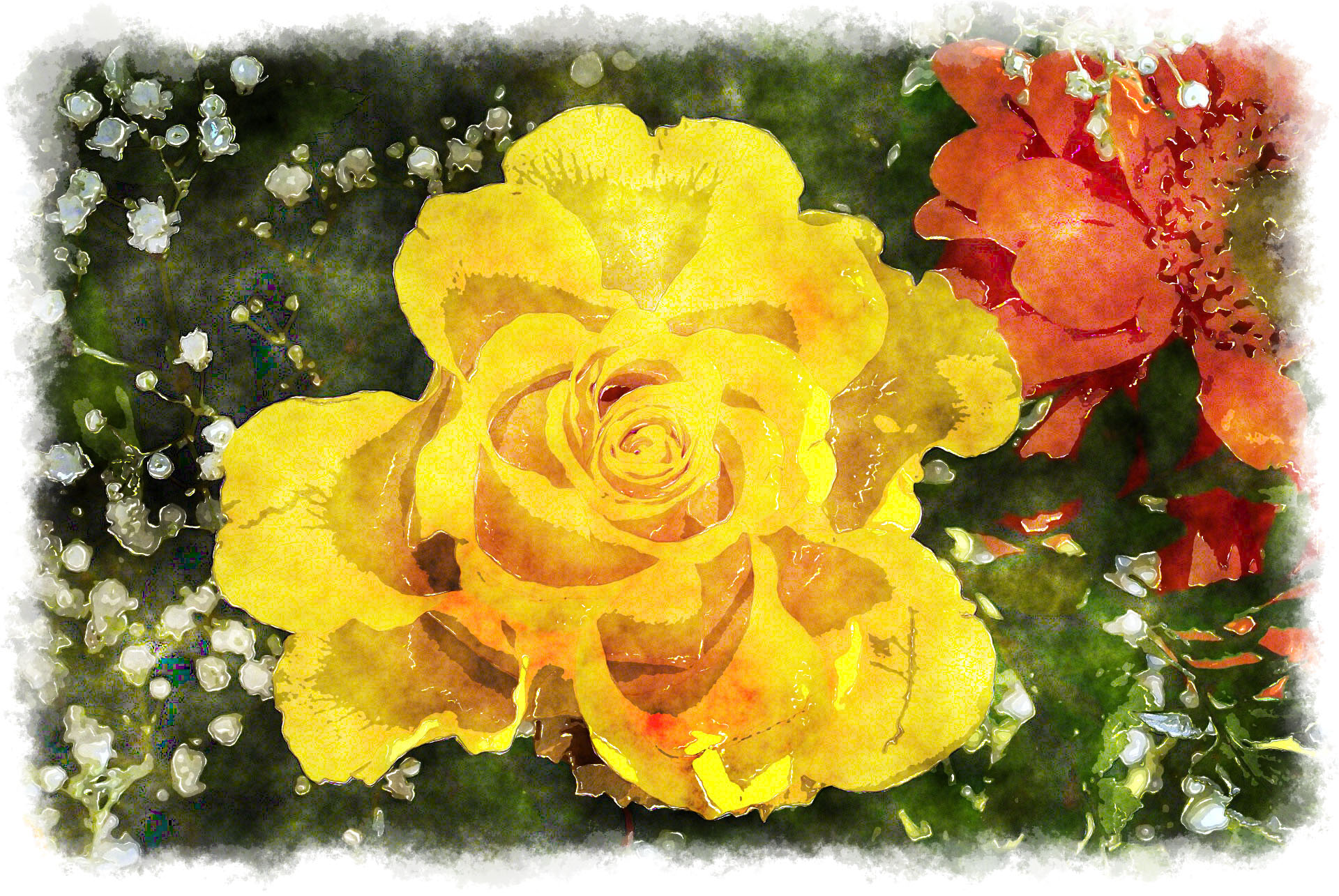yellow rose watercolor