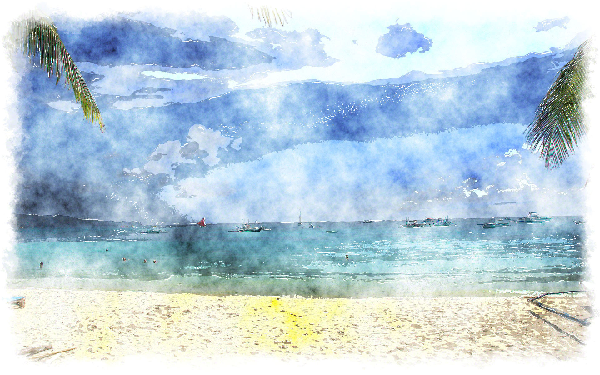 watercolor scenery wallpaper 228834