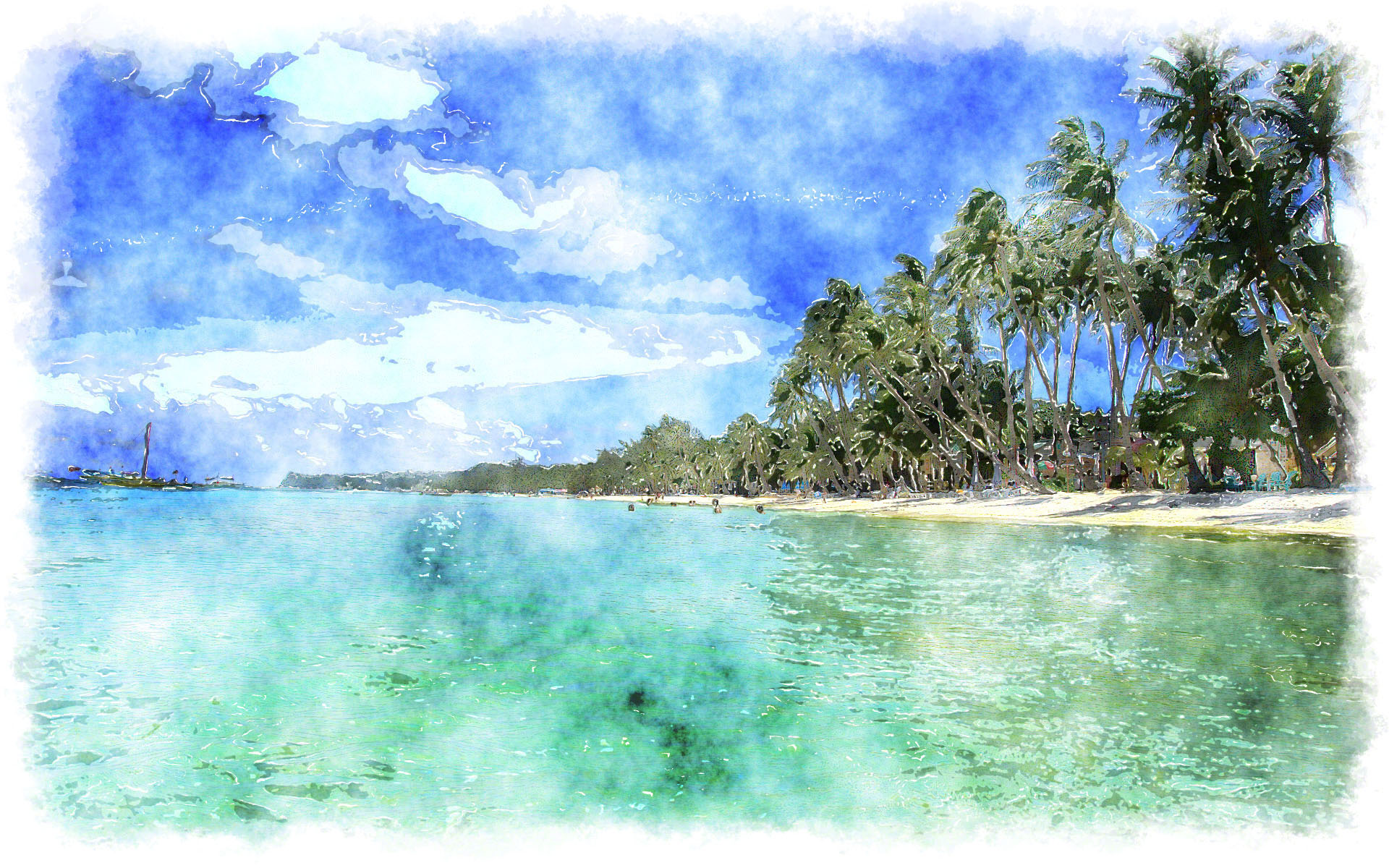 Watercolor tropical island for Watercolor painting samples